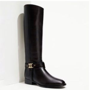 Tory Burch Alessandra Black Leather Riding Boots 7